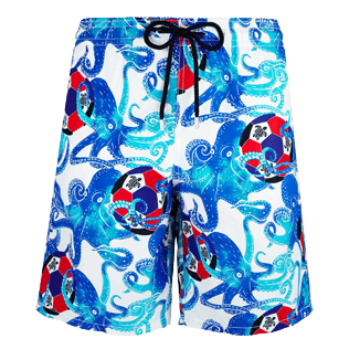 Men Long classic Printed - Men Long Swimtrunks Soccer Turtles, White front