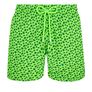Men Ultra-light classique Printed - Men Swim Trunks Ultra-Light and Packable Micro Ronde des Tortues Fluo, Neon green front