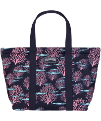 Others Printed - Large Beach Bag Coral & Fish, Navy front