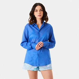 Others Solid - Unisex Cotton Voile Light Shirt Solid, Sea blue supp6