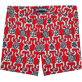 Men Fitted Printed - Primitive Turtles Superflex Fitted cut Swim shorts, Poppy red back