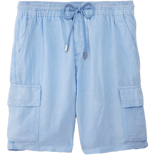 Men Shorts Solid - Solid Cargo linen bermuda shorts, Sky blue front