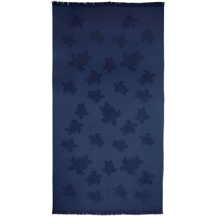 Towels Solid - Fouta with fringes Turtles pattern, Navy front