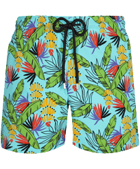 Men Stretch classic Printed - Men Stretch Swim Trunks Go Bananas, Lazulii blue front