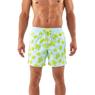 Men Classic / Moorea Printed - Flocked Turtle Print Swim Shorts, Frosted blue supp2
