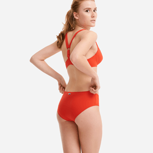 Women High waist Solid - Women high-waisted brief bikini bottom - Vilebrequin x JCC+ - Limited Edition, Red polish backworn