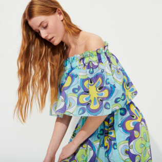 Women Others Printed - Women Cotton Off the Shoulder Long Dress Kaleidoscope, Lagoon supp2