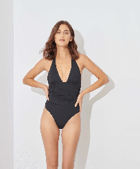 Women Bandeau Solid - Women One piece Swimsuit Solid, Black frontworn