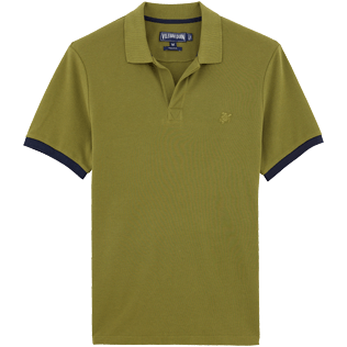 Men Polos Solid - Solid Cotton pique polo, Khaki front