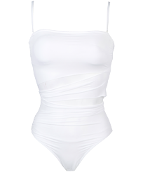 Women One piece Solid - Women Bustier One-piece Swimsuit Solid, White front