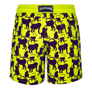 Men Classic Printed - Men Swimwear Flocked Happy Monkey, Chartreuse back