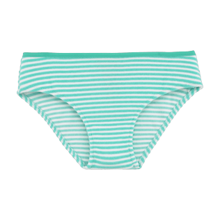 Girls Bottoms Graphic - Striped Terry Bikini bottom, Lagoon front