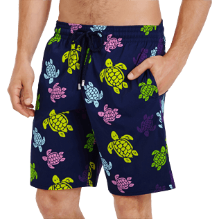 Men Long classic Printed - Men Swim Trunks Long Stretch Ronde des tortues, Navy supp1