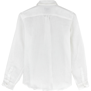 Women Shirts Solid - Solid Linen Boyfriend shirt, White back