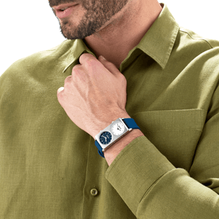 050 Solid - Dual Time Watch, Navy backworn