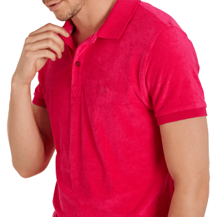Men Others Solid - Men Terry Cloth Polo Shirt Solid, Gooseberry red supp1