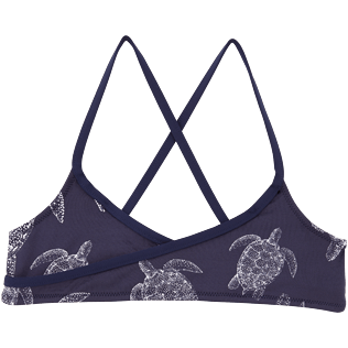 Girls Tops Printed - Galuchat Turtle Crop top with large frill, Navy front