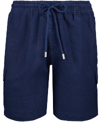 Men Others Solid - Men Cargo Linen Bermuda Shorts Solid, Navy front