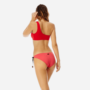 Women Classic brief Solid - Women asymmetrical brief bikini Bottom Neoprene, Hibiscus backworn