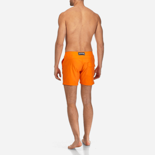 Men Flat belts Solid - Men Flat Belt Stretch swimtrunks Solid, Kumquat backworn