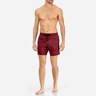 Men Classic / Moorea Printed - Men Lightweight and Packable Swimtrunks Mini Fish, Navy frontworn