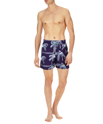 Men Embroidered Embroidered - Men Swim Trunks Embroidered Palmiers - Limited Edition, Amethyst frontworn