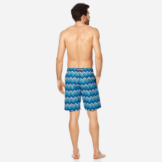 Men Long classic Printed - Men Swimwear Long Herringbones Turtles, Navy backworn