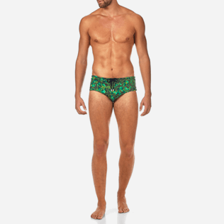 Men Short Printed - Natural Flowers Swim briefs, Olive frontworn