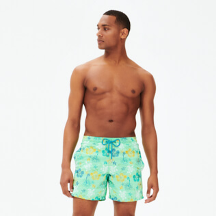 Men Classic Embroidered - Men Swimwear Embroidered Tropical turtles - Limited Edition, Cardamom frontworn
