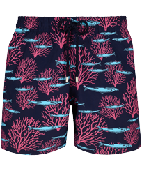 Men Classic Printed - Men Swim Trunks Coral & Fish, Navy front