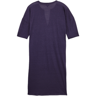 Women Others Solid - Women Linen Beach Cover-up Solid, Midnight blue back
