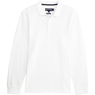 Men Others Solid - Solid Long sleeves Cotton pique polo, White front
