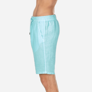 Men Others Solid - Men Italian Pockets Linen Bermuda Shorts Solid, Lagoon supp3