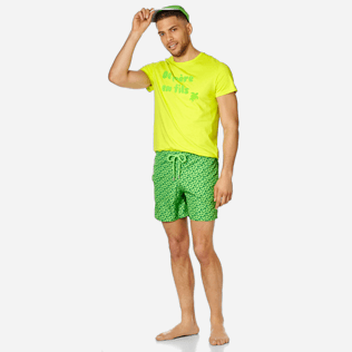 Men Ultra-light classique Printed - Men Swim Trunks Ultra-Light and Packable Micro Ronde des Tortues Fluo, Neon green supp2
