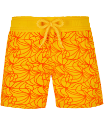 Boys Others Embroidered - Boys Swim Trunks 1984 Invisible Fish Flocked, Yellow front