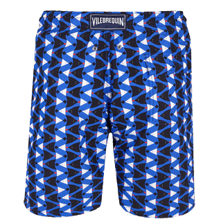 Men Long classic Printed - Men Swimtrunks Long Re Mi Fa Soles, Royal blue back