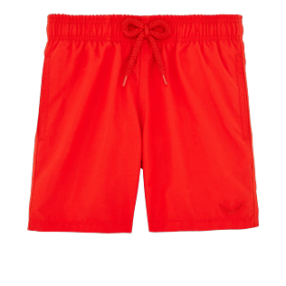 Boys Classic / Moorea Printed - Boys Water-Reactive Swimtrunks Magic Whales, Poppy red front