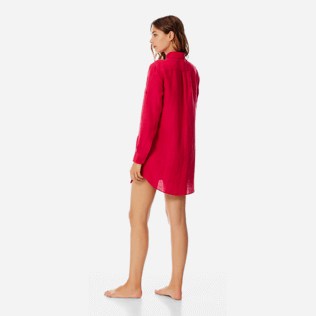 Women Others Solid - Women Long Linen Shirt Solid, Gooseberry red backworn