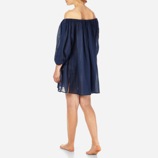 Women Dresses Embroidered - Women Off shoulder Linen Voile Dress Solid, Navy backworn