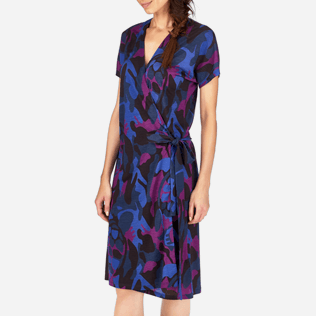 Women Dresses Printed - Camouflage Turtles Wrap-Around Dress, Plum supp1