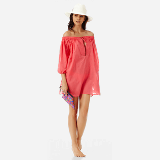 Women Others Solid - Women off-the-shoulder Cotton voile Dress Solid, Hibiscus supp2