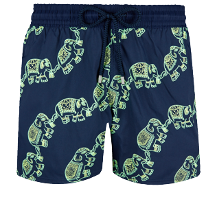 Men Stretch classic Magical - Men Swim Trunks Stretch Elephants Dance Glow in the dark, Navy front