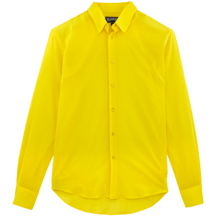 Men Shirts Solid - Solid Cotton veil shirt, Lemon front