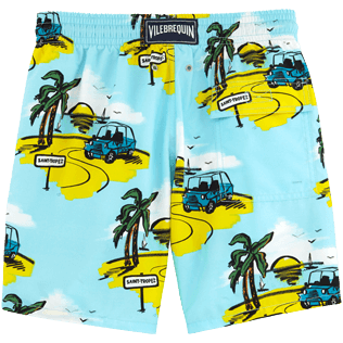 Men Classic / Moorea Printed - Sunny Car Swim shorts, Frosted blue back
