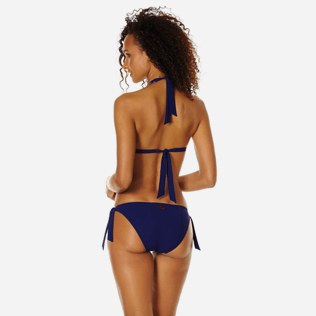 Women Classic brief Embroidered - Women Bikini Bottom Brief to Be Tied Coral and Turtles, Midnight blue backworn