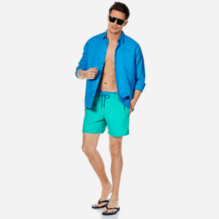 Men Classic Solid - Men Swimwear Solid Bicolor, Veronese green supp2