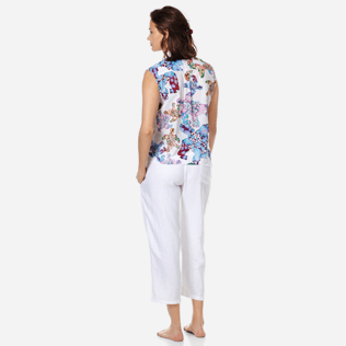 Donna Altri Stampato - Camicia donna in velo di cotone Watercolor Turtles, Bianco backworn