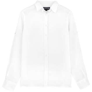 Women Shirts Solid - Classic linen shirt, White front