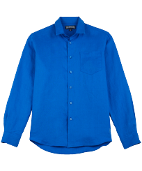 Men Others Solid - Men Linen Shirt Solid, Sea blue front