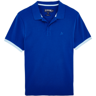 Men Polos Solid - Cotton pique polo, Celestial front